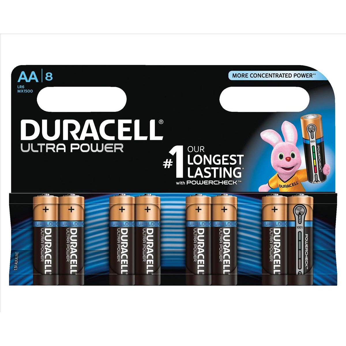 Duracell Ultra Power MX1500 Battery Alkaline 1.5V AA Ref 81235497 Pack 8