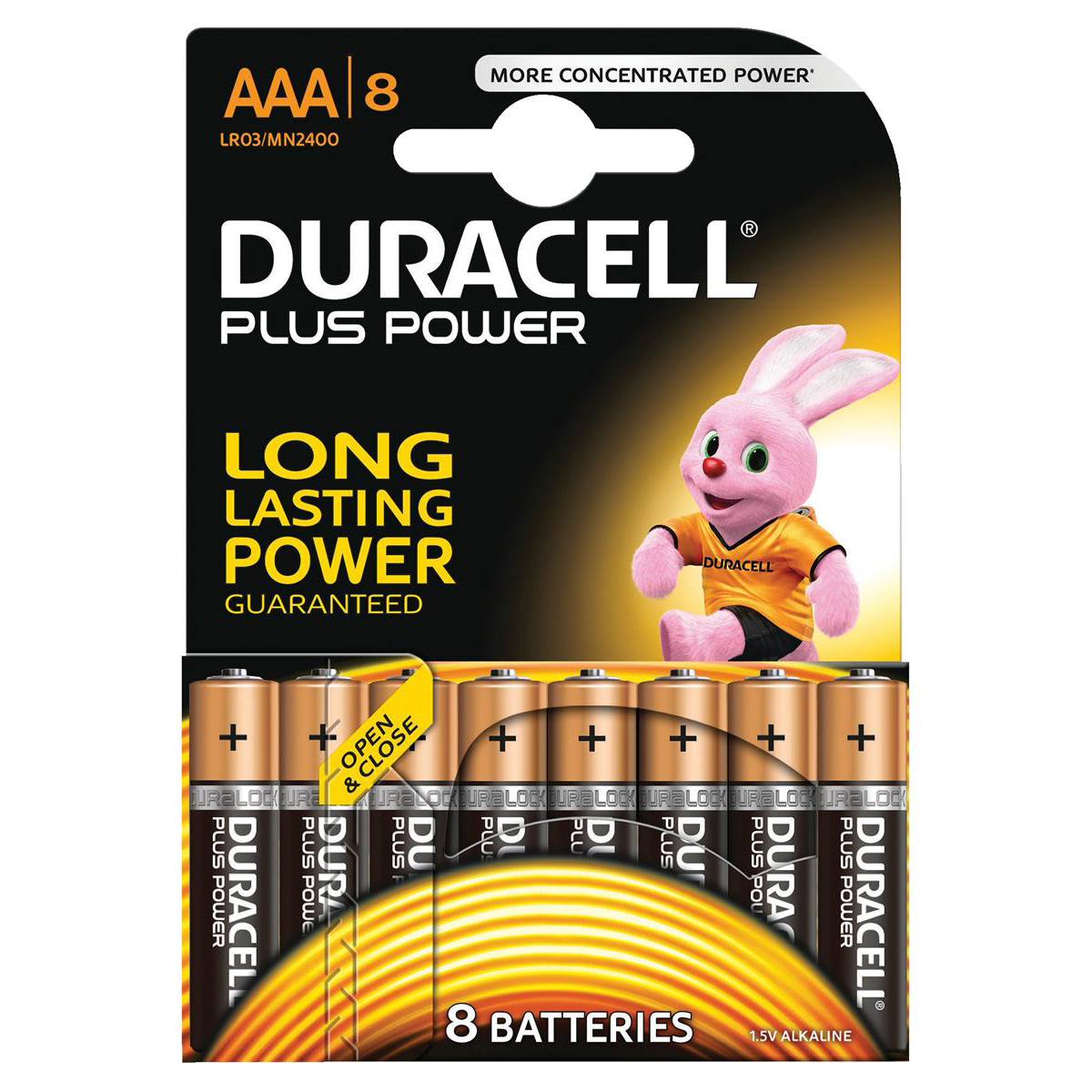Duracell Plus Power Battery Alkaline AAA Size 1.5V Ref 81275401 Pack 8