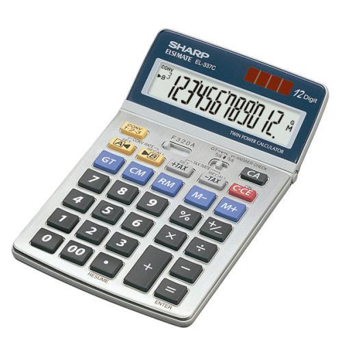 Desktop Calculator Sharp Desktop Calculator 12 Digit 4 Key Memory Battery/Solar Power 108x22x175mm Grey Ref EL337C