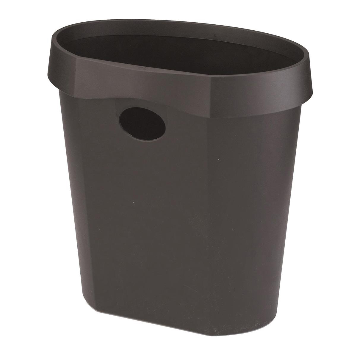 Bin containers or rigid liners Avery DR500 Waste Bin with Rim Flat Back 18 Litres 350x250x340mm Black Ref DR500BLK