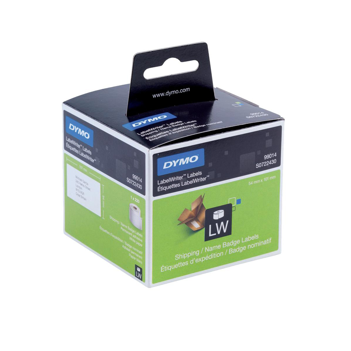Dymo Labelwriter Labels Name Badge and Shipping 54x101mm White Ref 99014 S0722430 Pack 220