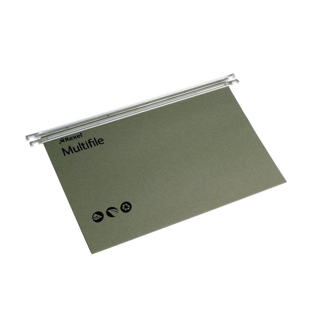 Rexel Multifile Suspension File Manilla 15mm V-base 180gsm Foolscap Green Ref 78008 Pack 50