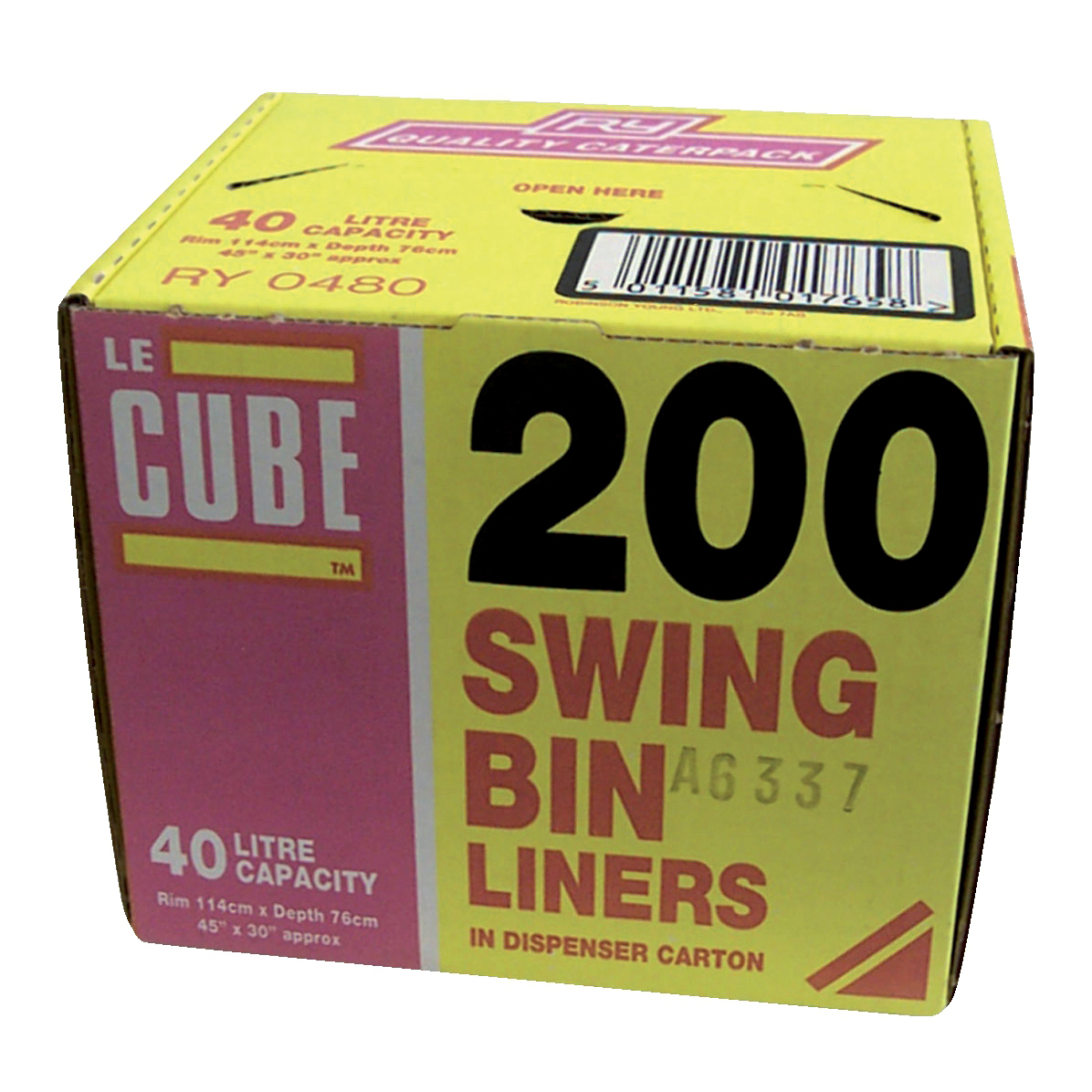 Le Cube Swing Bin Liners in Dispenser Box 46 Litre Capacity 1140x570mm Black Ref 480 Pack 200