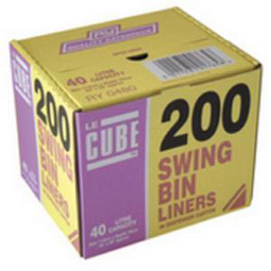 Le Cube Swing Bin Liners in Dispenser Box 46 Litre Capacity 1140x570mm Black Ref 480 [Pack 200]