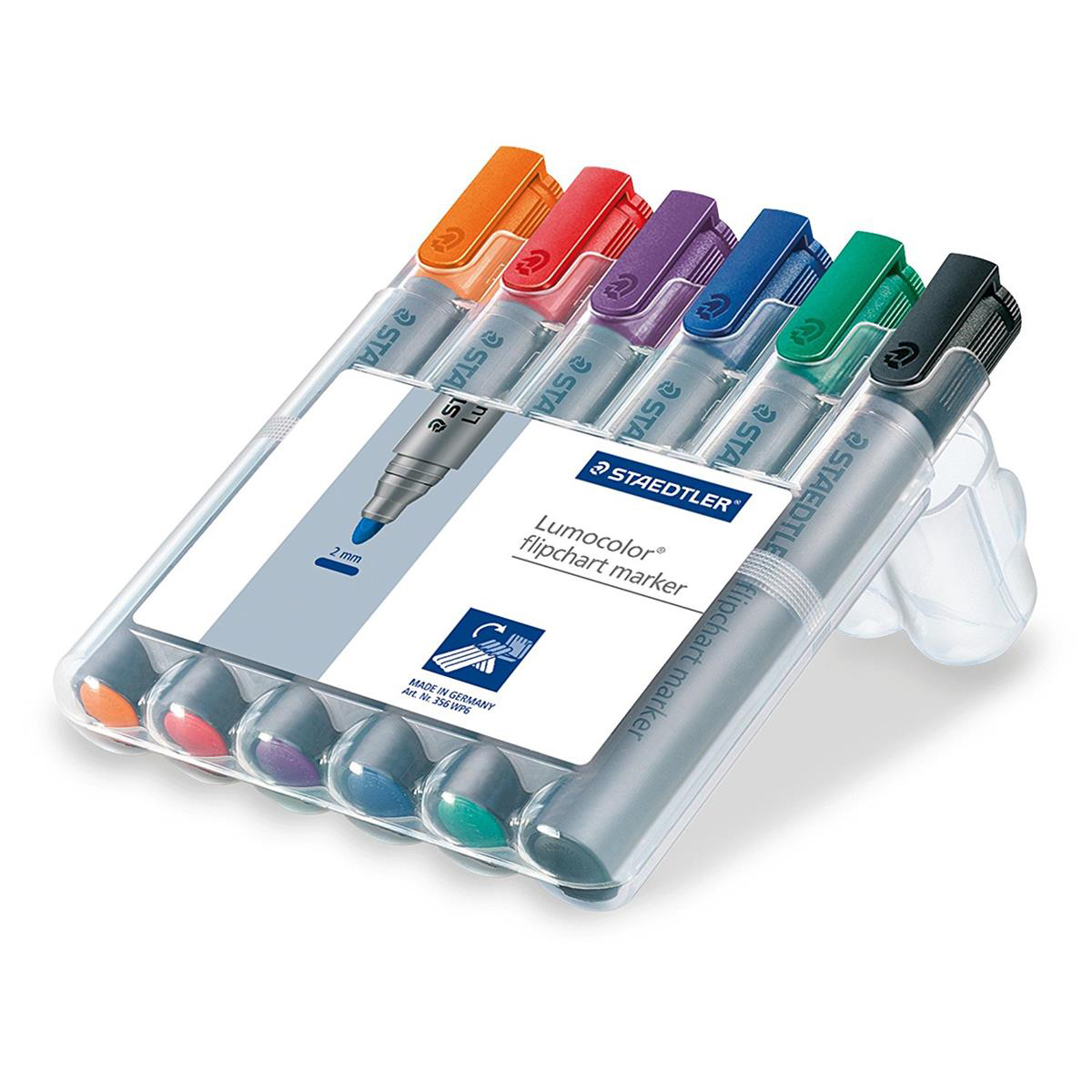 Staedtler Lumocolor Flipchart Markers Water-based Dry-safe Bullet Tip 2mm Assorted Ref 356 WP6 [Pack 6]