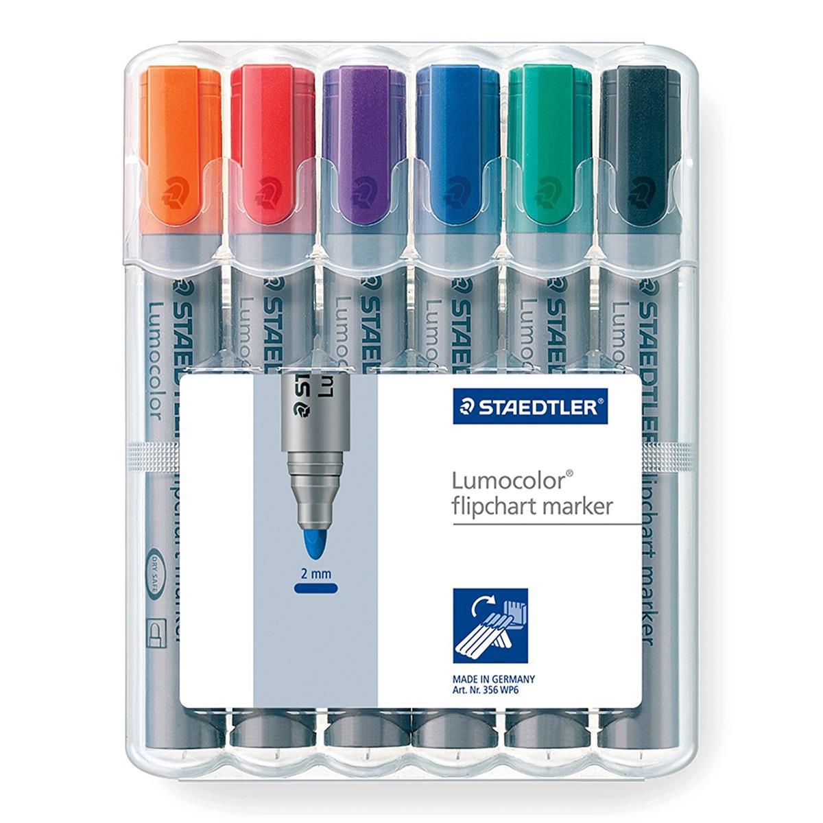Staedtler Lumocolor Flipchart Markers Dry-safe Bullet Tip 2mm Wallet Asstd Colours Ref 356WP6 Pack 6
