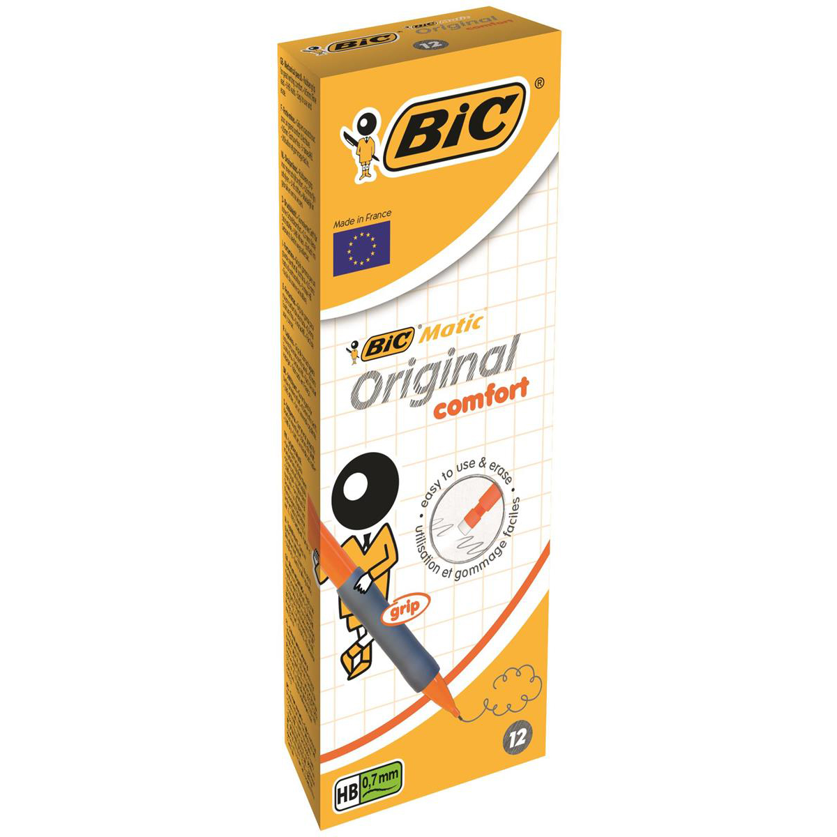 Bic Matic Grip Mechanical pencil with Eraser 3 x HB 0.7mm Lead Assorted Colour Grips Ref 890284 [Pack 12]