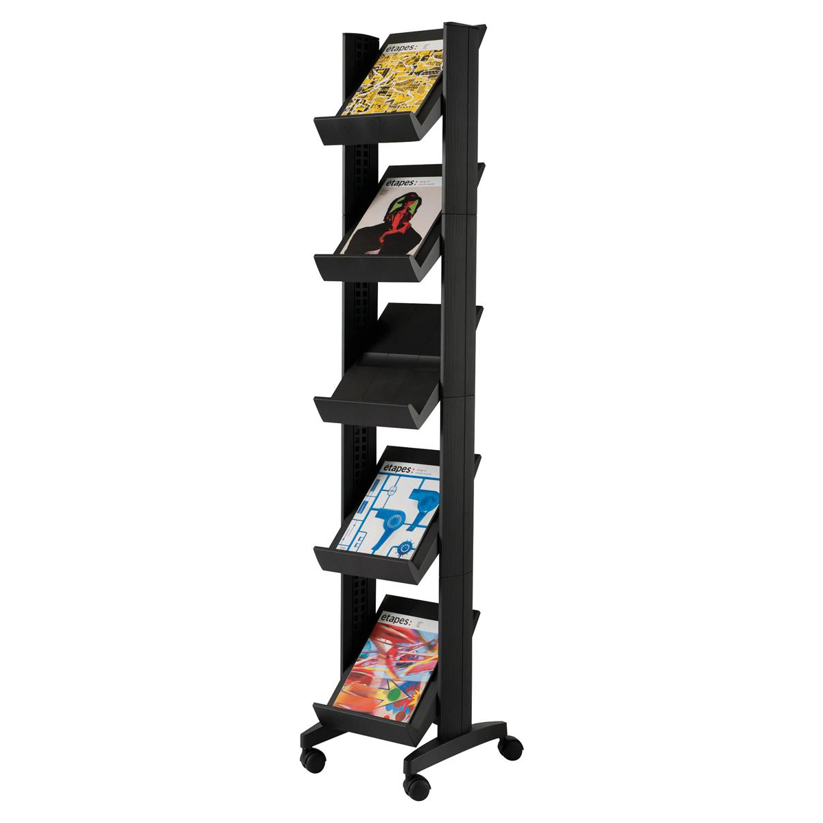 Literature Holders Fast Paper Literature Display Corner Mobile 5 Shelves 35mm Lip Black Ref 259N.01
