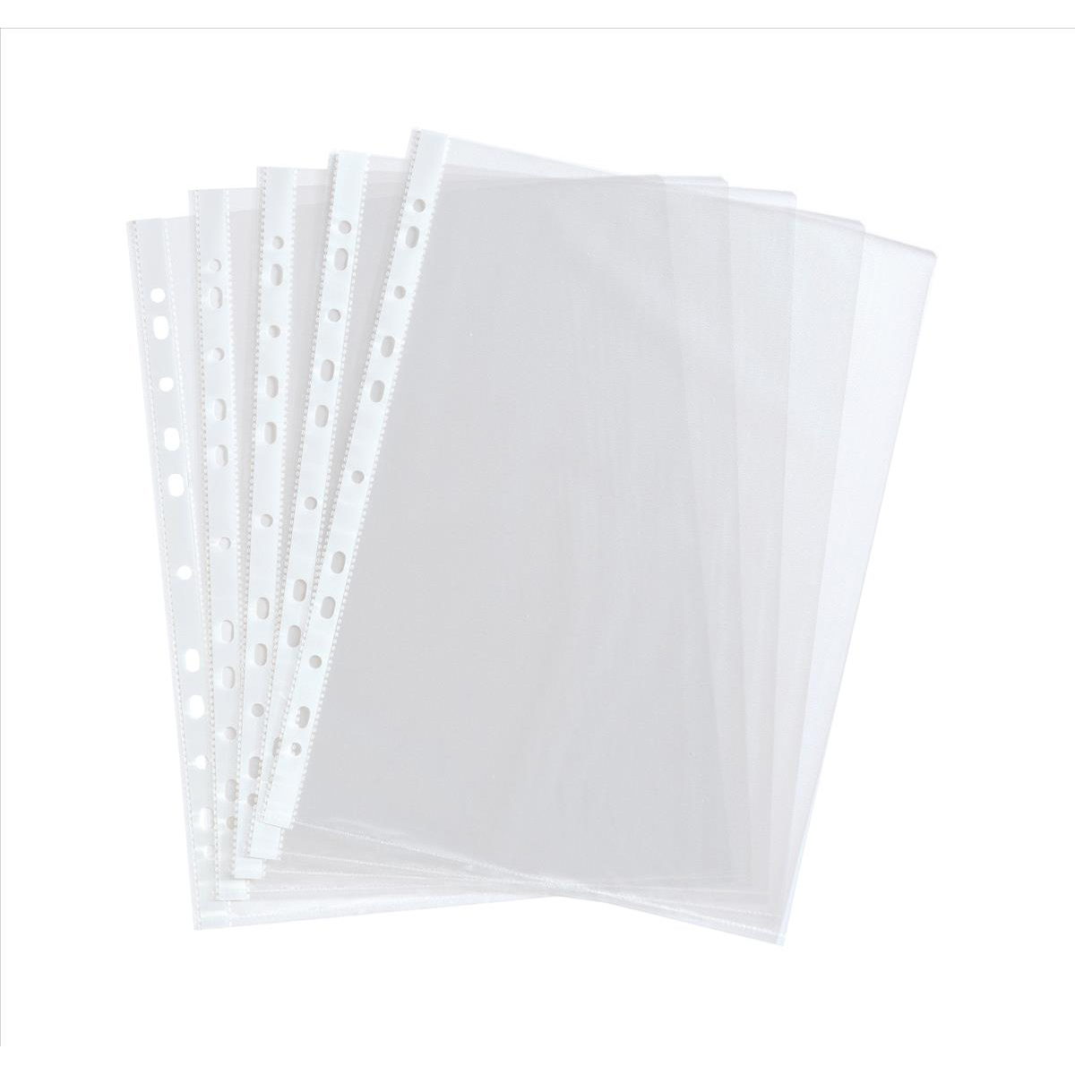 Plastic Pockets 5 Star Value Punched Pocket Polypropylene Embossed Top-opening 40 Microns A4 Clear Pack 100