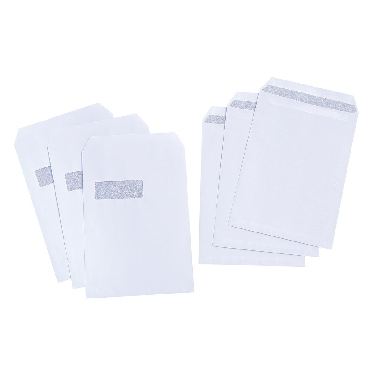 5 Star Value Envelopes Pocket Press Seal Window 90gsm C4 324x229mm White Pack 250