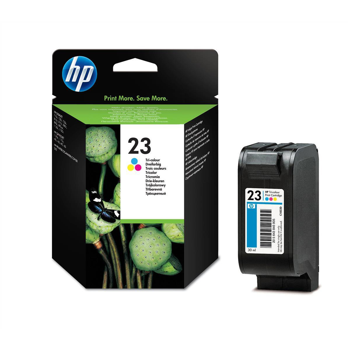 Ink cartridges Hewlett Packard HP No.23 Inkjet Cartridge Page Life 620pp 30ml Tri-Colour Ref C1823D