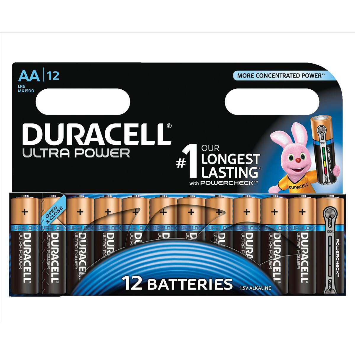 AA Duracell Ultra Power MX1500 Battery Alkaline 1.5V AA Ref 81235502 Pack 12