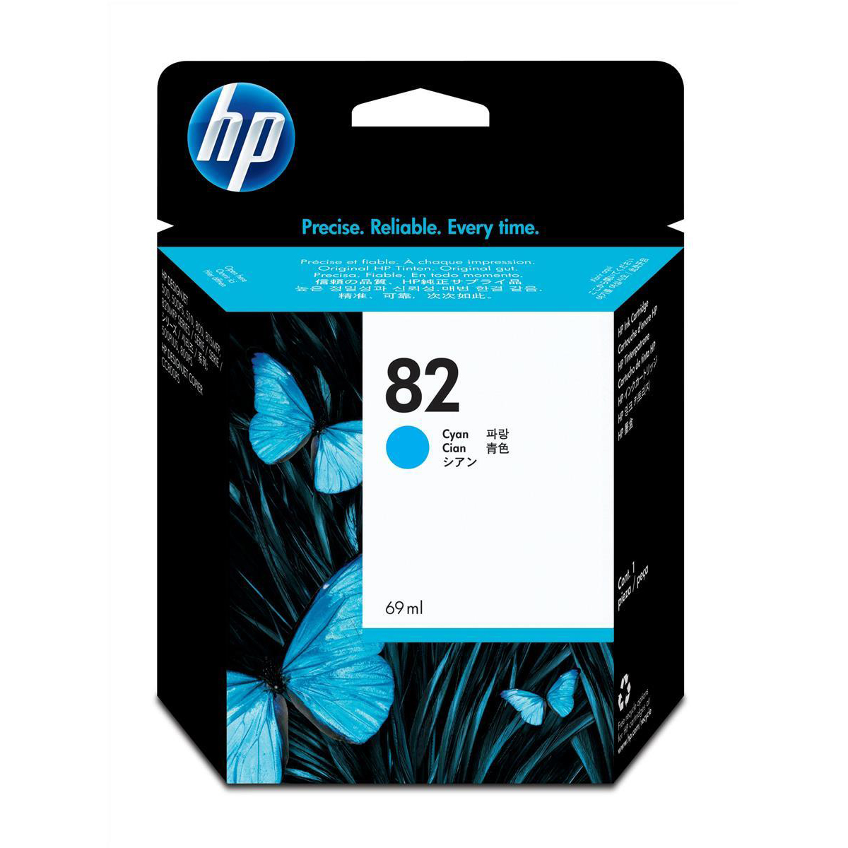 Hewlett Packard HP No.82 Inkjet Cartridge High Yield 1430pp 69ml Cyan Ref C4911A