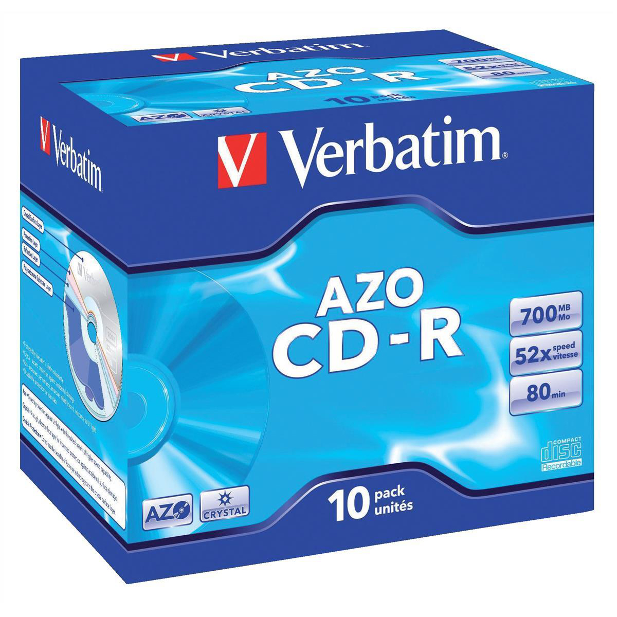 Compact disks CDs Verbatim CD-R Recordable Disk Write-once Cased 52x Speed 80 Min 700Mb Ref 43327 Pack 10