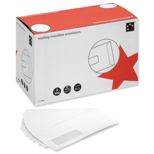 5 Star Office Envelopes Mailing Machine Wallet Gummed with Window 90gsm DL 162x238mm White Pack 500