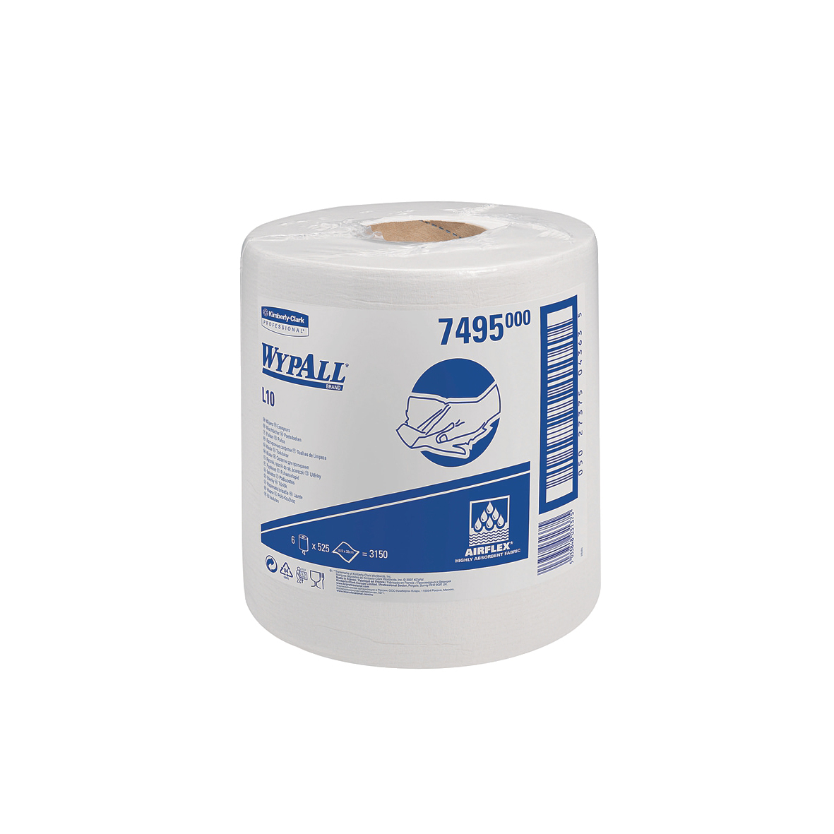 Wypall L10 Wipers Centrefeed Airflex 525 Sheets per Roll 185x380 White Ref 7495 Pack 6
