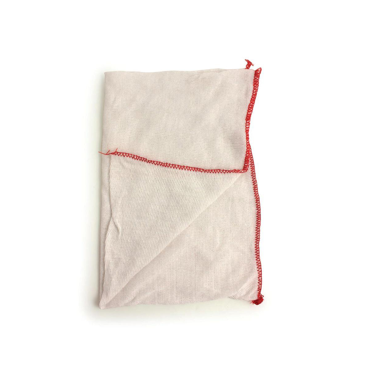 Stockinette Dish Cloths 305x405mm White With A Red Trim Pk20