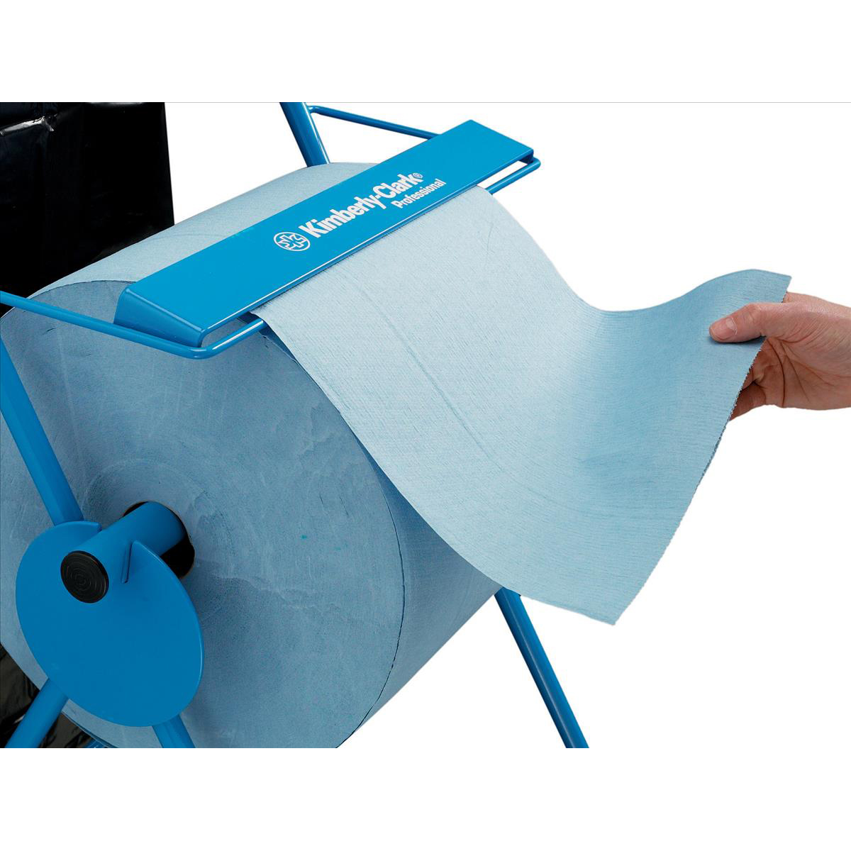 WYPALL Mobile Stand Wiper Dispenser 6155 Large Roll with Cutter 2 Wheels Tubular Frame Blue Ref C01848