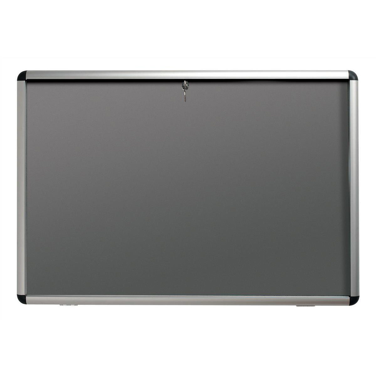 Glazed Nobo Display Cabinet Noticeboard Visual Insert Lockable A0 W1350xH1060mm Grey Ref 31333501