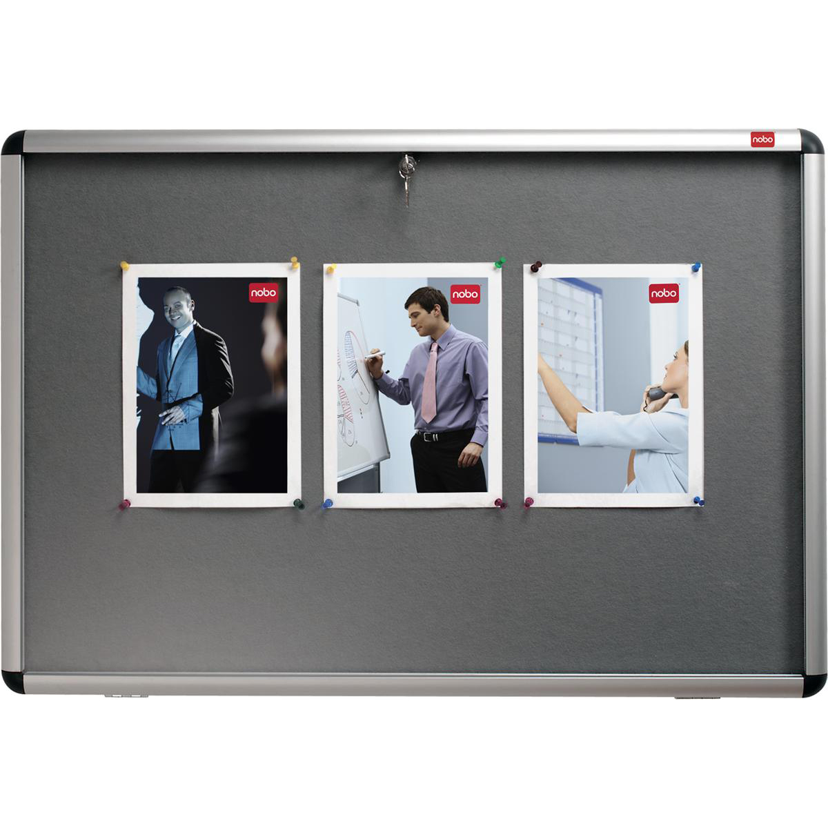 Nobo Display Cabinet Noticeboard Visual Insert Lockable A0 W1350xH1060mm Grey Ref 31333501