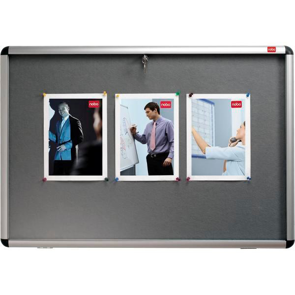 Nobo Display Cabinet Noticeboard Visual Insert Lockable A0 W1255xH965mm Grey Ref 31333501