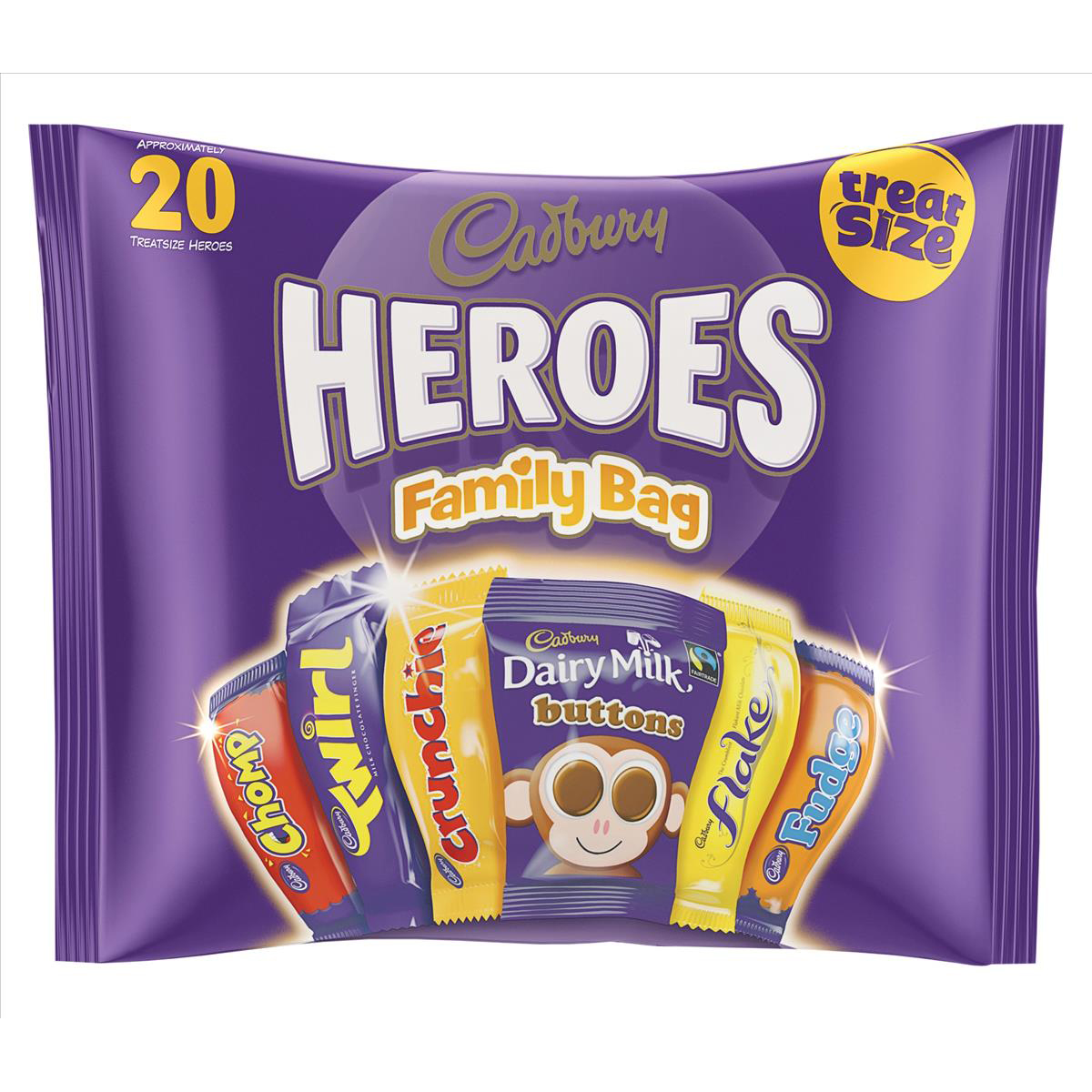 Chocolate or chocolate substitute candy Cadbury Heroes Family Bag 20 Treatsize 278g Ref A03807
