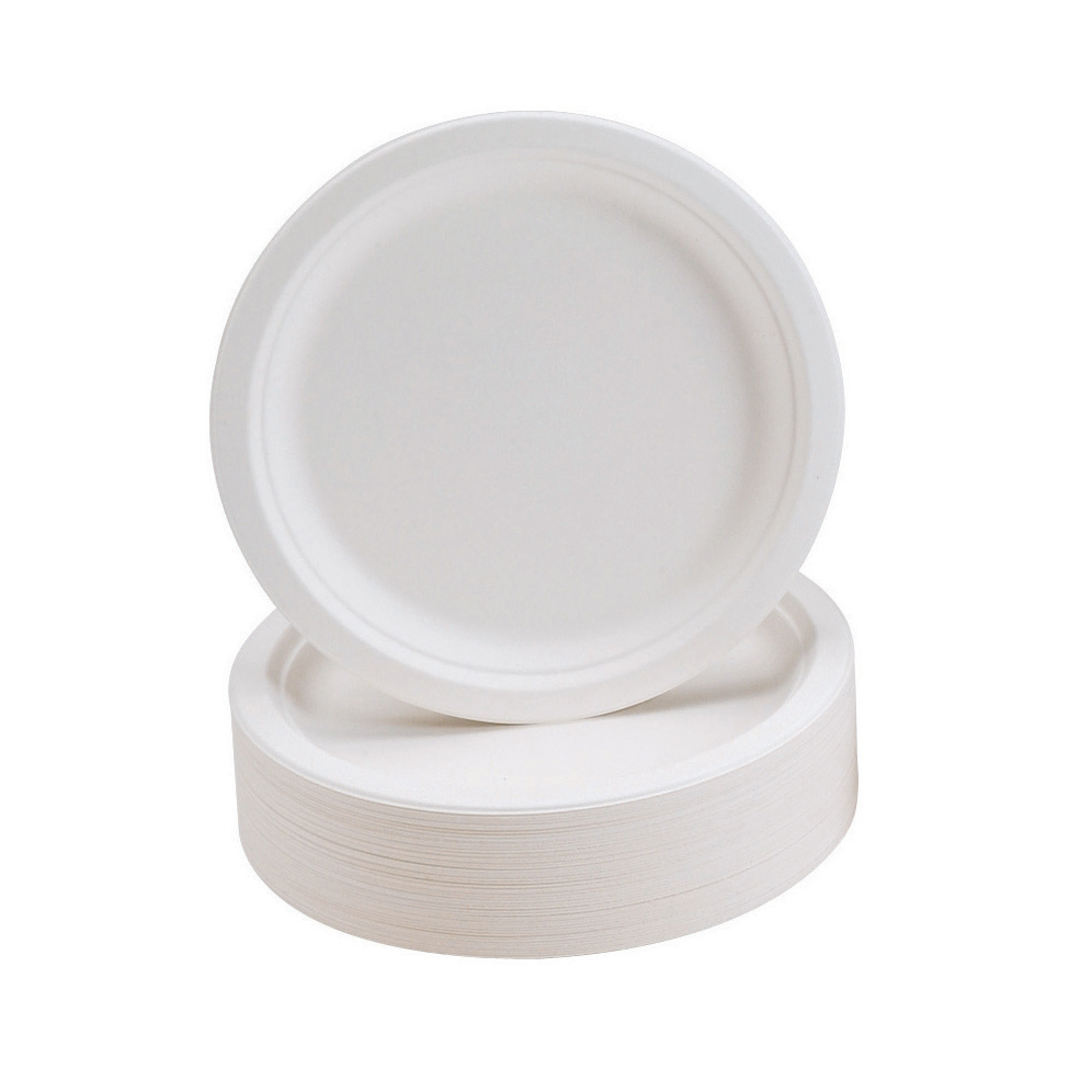 Plates Rigid Biodegradable Microwaveable Diameter 230mm Pack 50