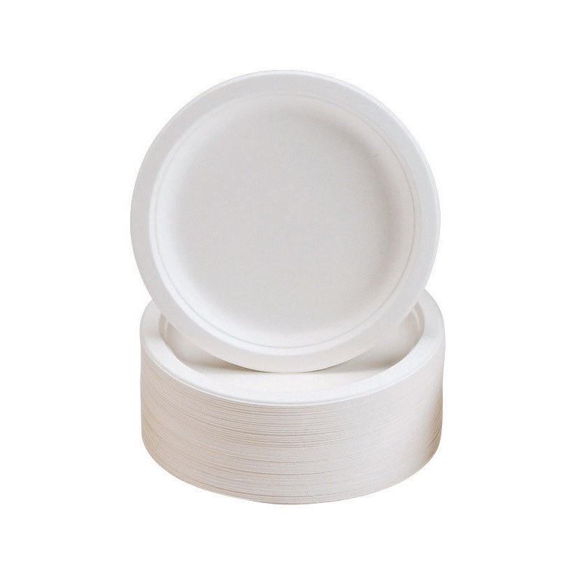 Plates Rigid Biodegradable Microwaveable Diameter 180mm Pack 50