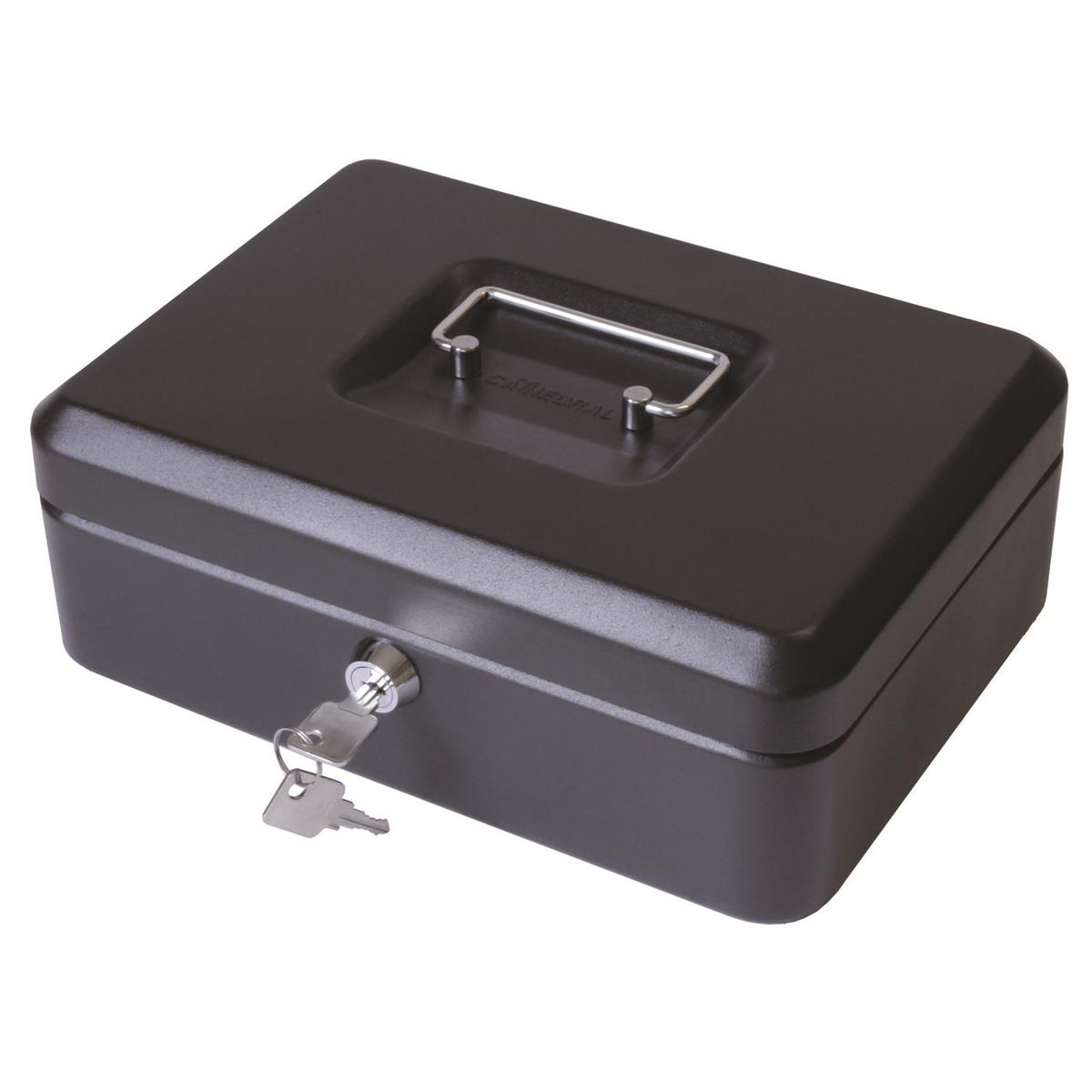 Cash Box with Latch and 2 Keys plus Removable Coin Tray 300mm Black