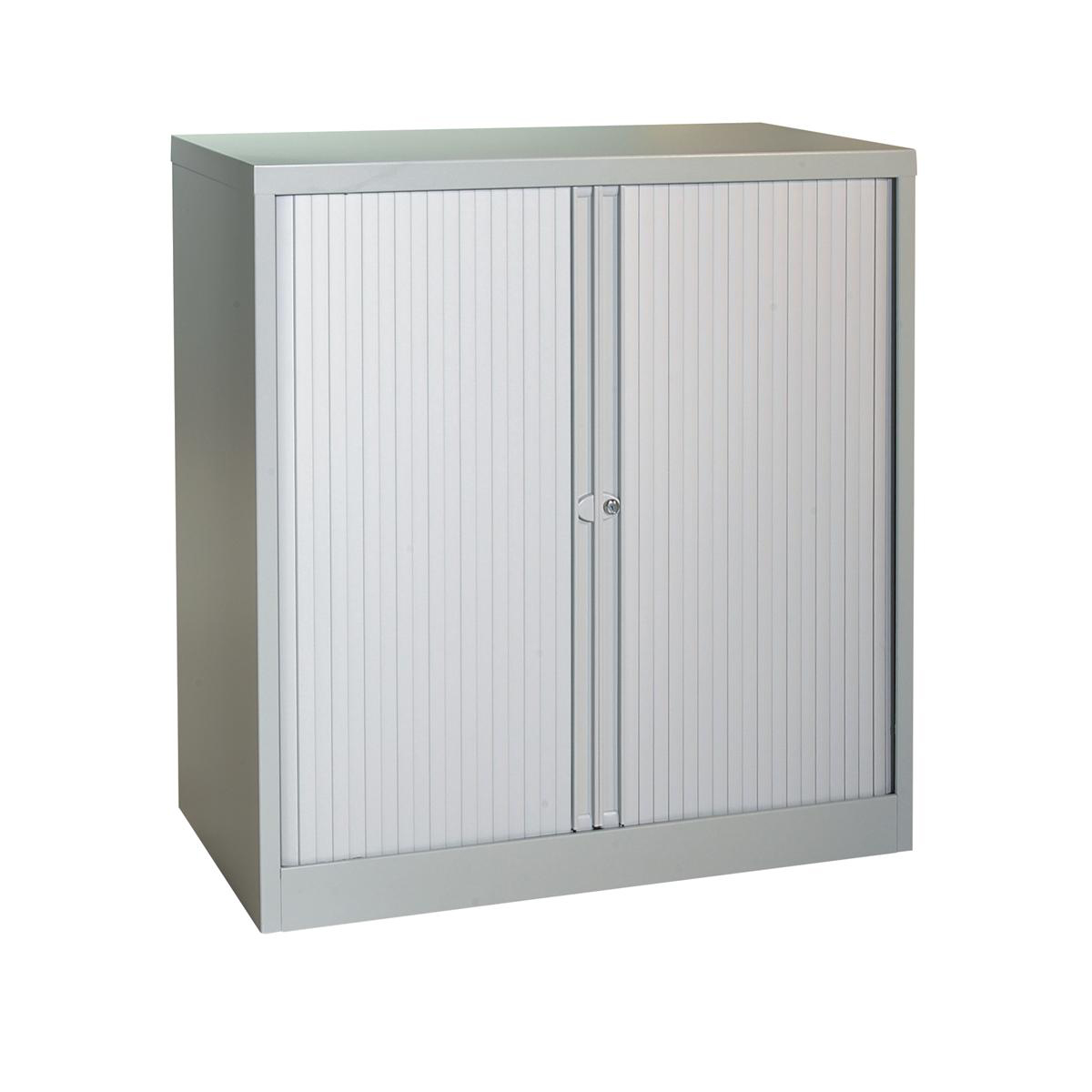 Trexus by Bisley Side Opening Tambour Door Cupboard 1000x470x1000-1015mm Grey/Grey Ref YETB1010.1