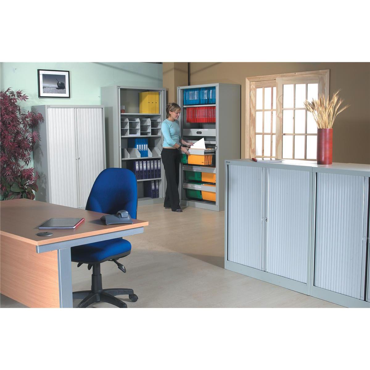 Image for Trexus by Bisley Side Opening Tambour Door Cupboard 1000x470x1000-1015mm Grey/Grey Ref YETB1010.1