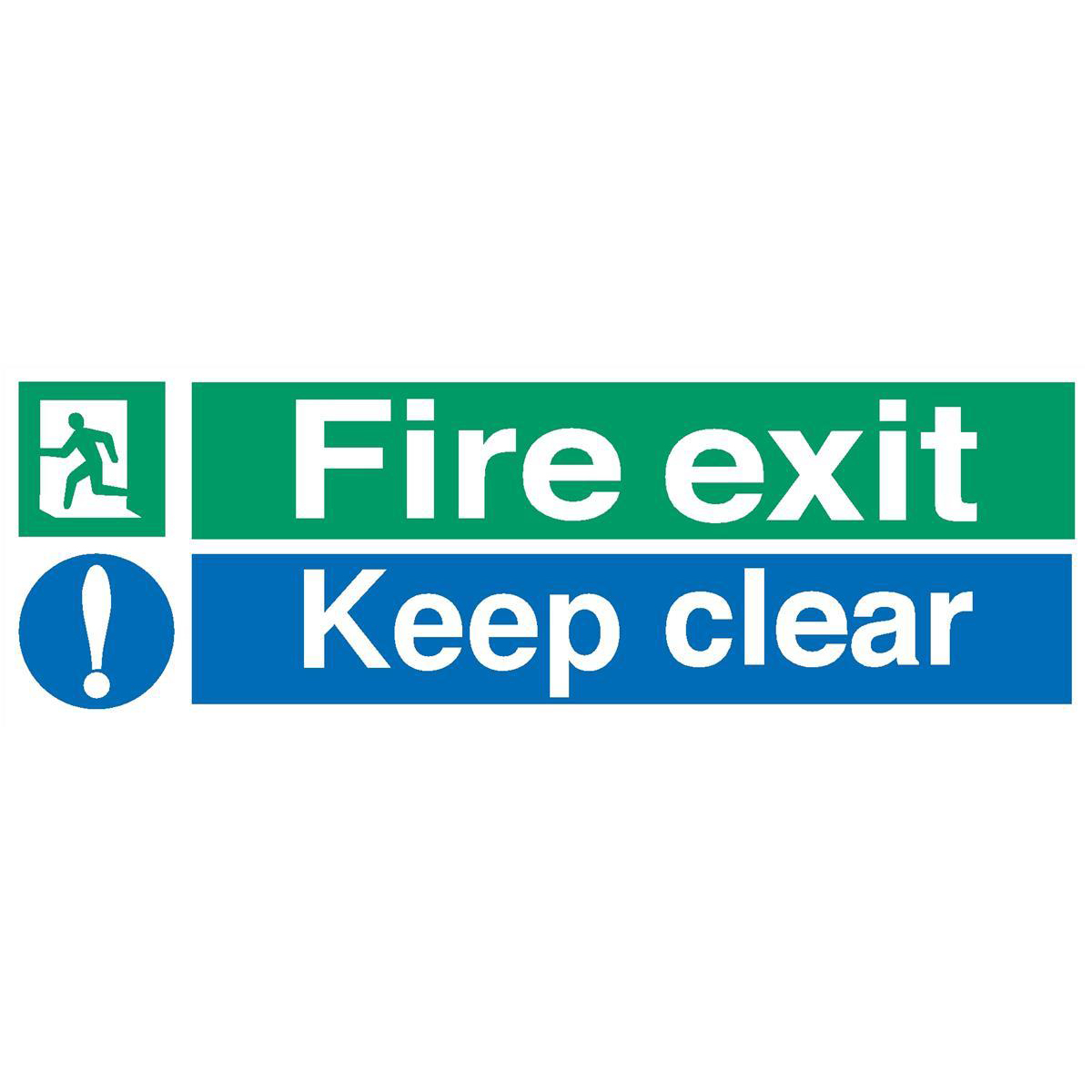 Fire Stewart Superior Fire Exit Sign Keep Clear W600xH200mm Self-adhesive Vinyl Ref SP055SAV