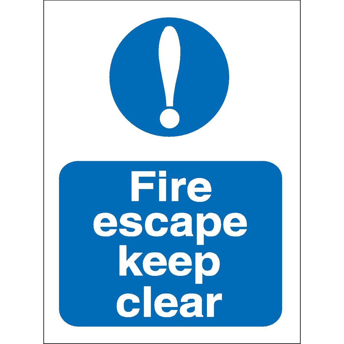 Fire Stewart Superior Fire Escape Keep Clear Sign W150xH200mm Self-adhesive Vinyl Ref M025SAV