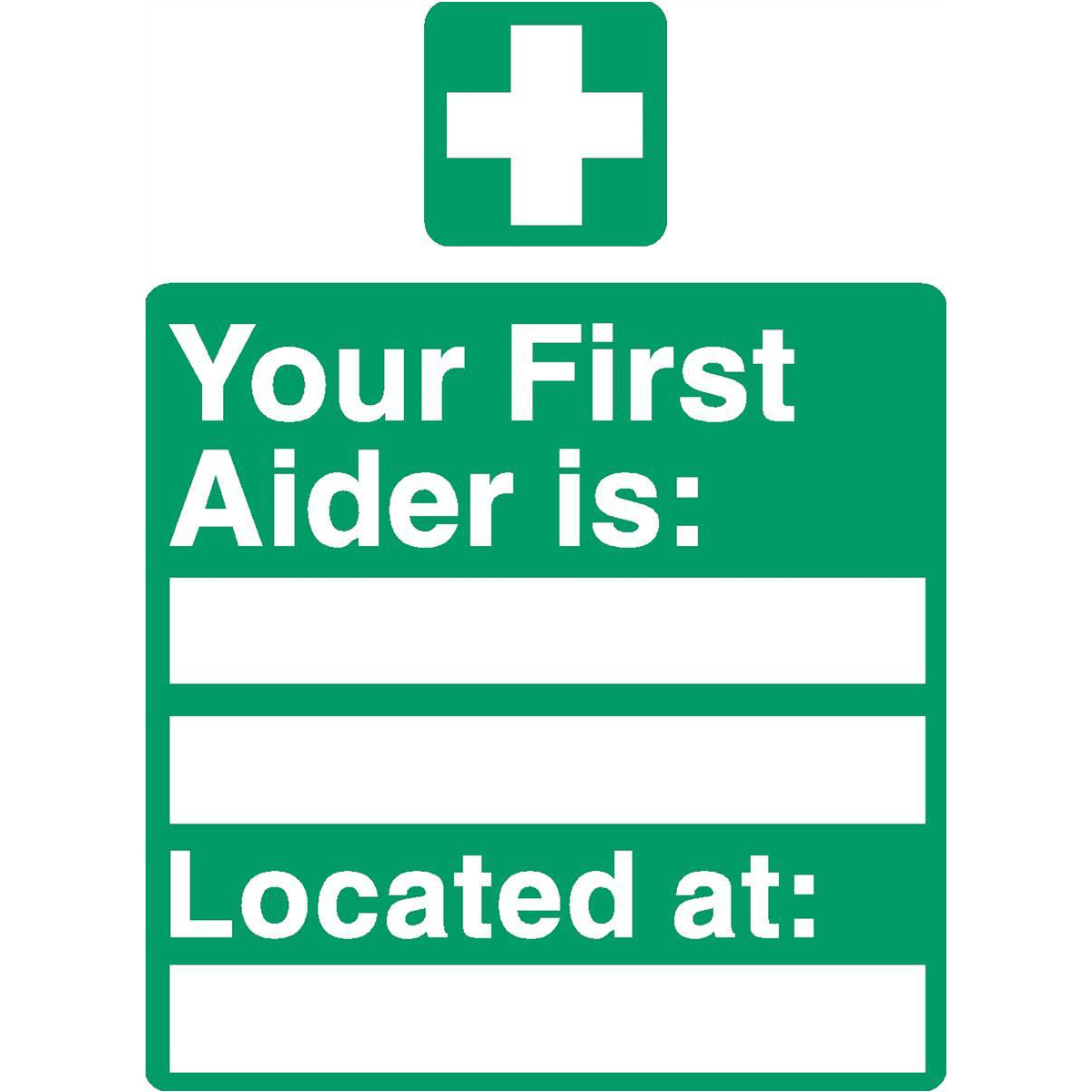 Advice Stewart Superior Your First-Aider Is Located At Sign W150XH200mm Self Adhesive Sign Ref SP049SAV