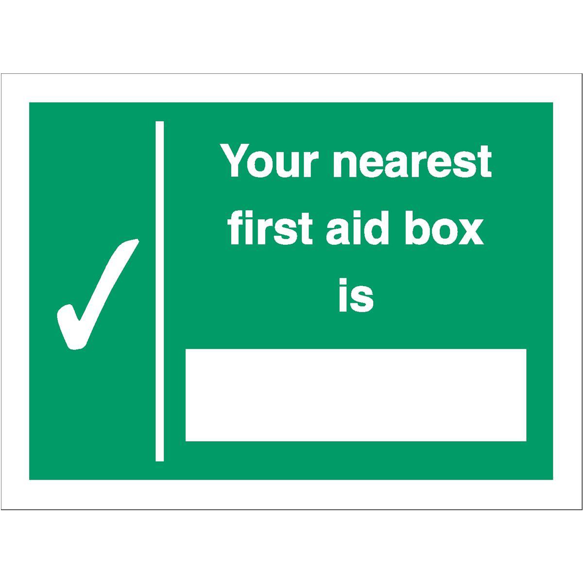 Advice Stewart Superior Your Nearest First Aid Box Is Sign W200xH150mm Self Adhesive Vinyl Ref SP075SAV