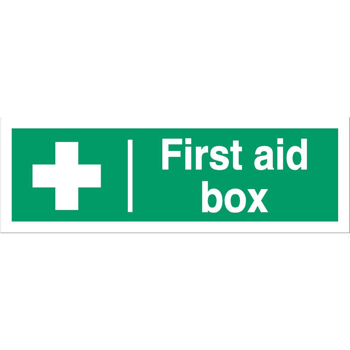 Advice Stewart Superior First Aid Box Sign W300xH100mm Self Adhesive Vinyl Ref SP058SAV