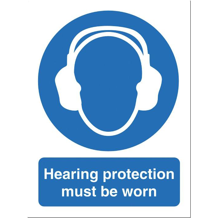 Stewart Superior Hearing Protection Must Be Worn Sign W150xH200mm Self-adhesive Vinyl Ref M002SAV