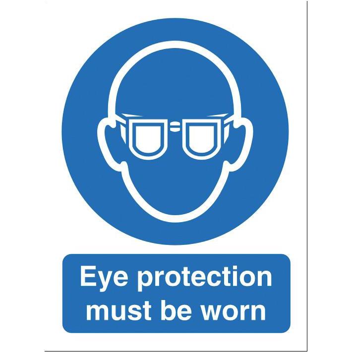 Warning Stewart Superior Eye Protection Must Be Worn Sign W150xH200mm Self-adhesive Vinyl Ref M004SAV