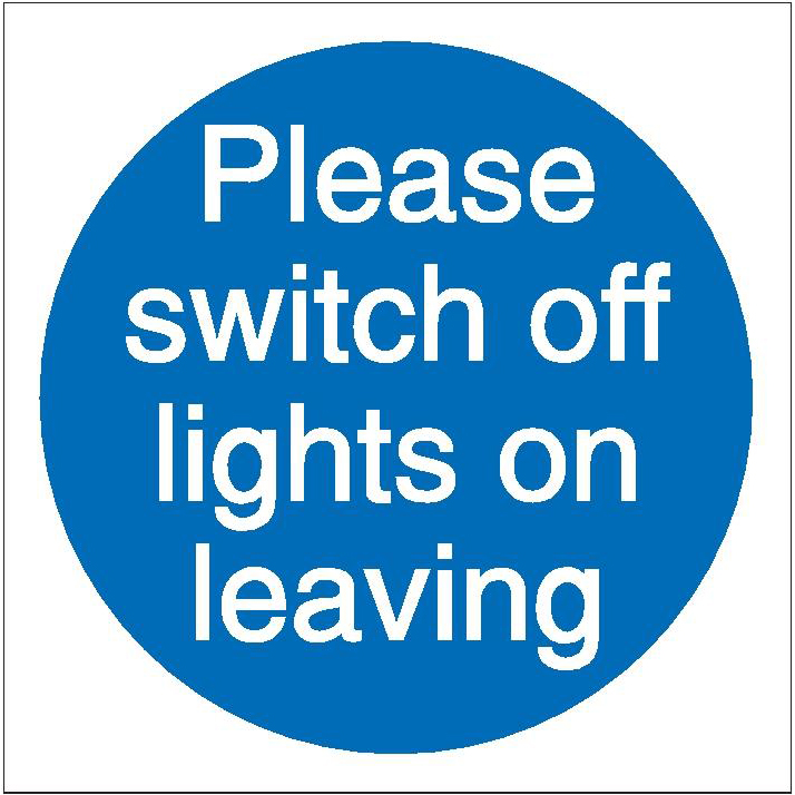 Stewart Superior Please Switch Off Lights Signs W100xH100 Self-adhesive Vinyl Ref M013SAV [Pack 5]