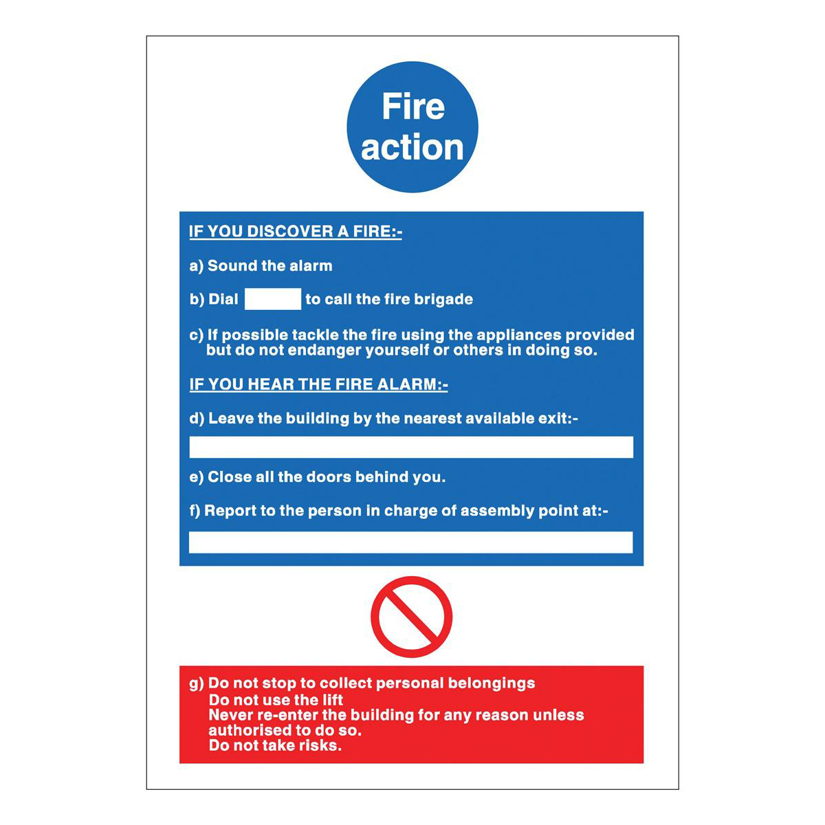 Fire Stewart Superior Fire Action Sign W210xH297mm PVC Ref M011PVC