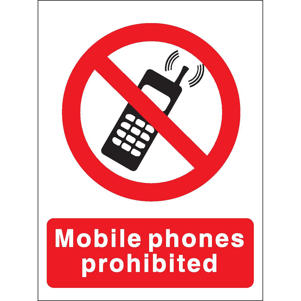 Stewart Superior Mobile Phones Prohibited Sign W150xH200mm Self-adhesive Vinyl Ref P087SAV