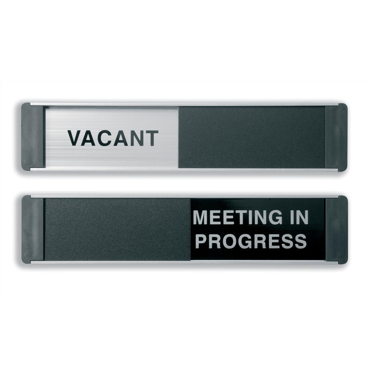 Informational signs Stewart Superior Vacant/Meeting In Progress Door Panel Aluminium/PVC W255xH52mm Self-adhesive Ref OF139