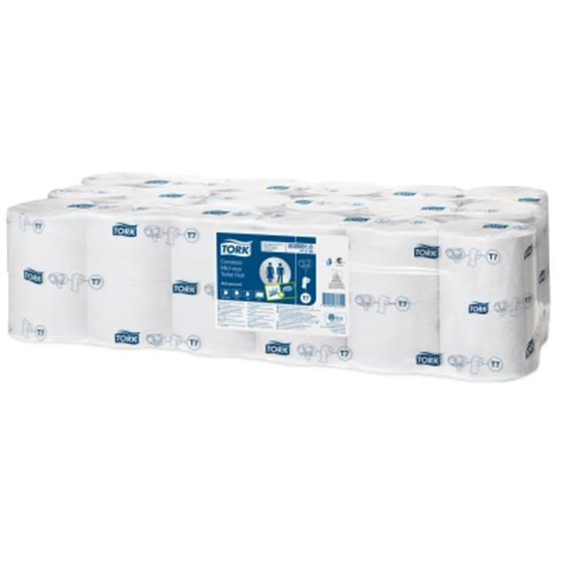 Toilet Tissue & Dispensers Tork Toilet Roll Mid-size Coreless 2-ply 93x125mm 900 Sheets White Ref 472199 Pack 36