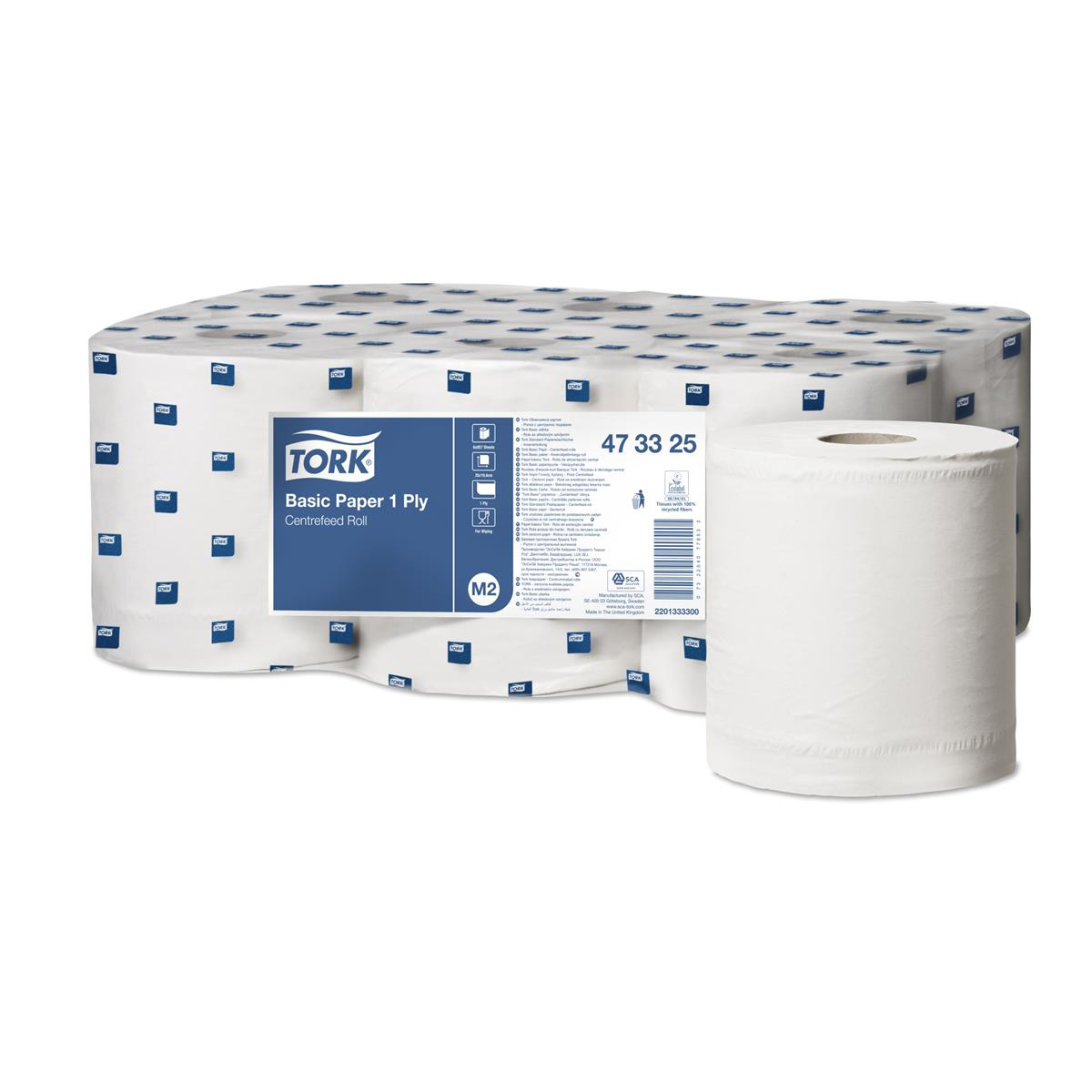 Hand Towels & Dispensers Tork FSC Universal Centrefeed Hand Towel Rolls Single Ply 194mmx300m Ref 473325 White Pack 6
