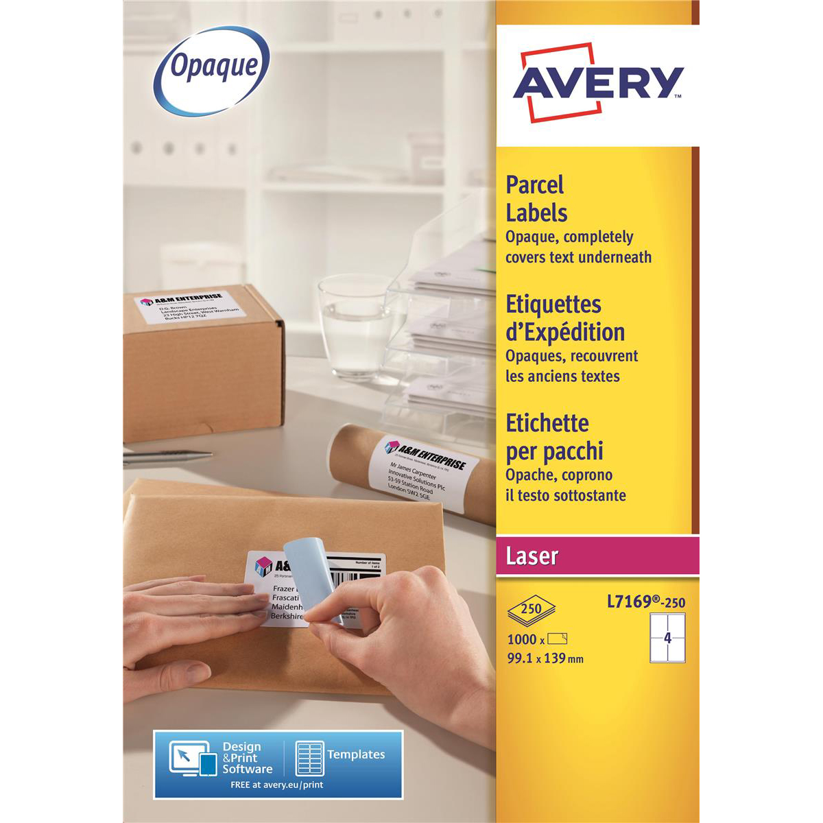 Avery Addressing Labels Laser Jam-free 4 per Sheet 139x99.1mm White Ref L7169-250 [1000 Labels]