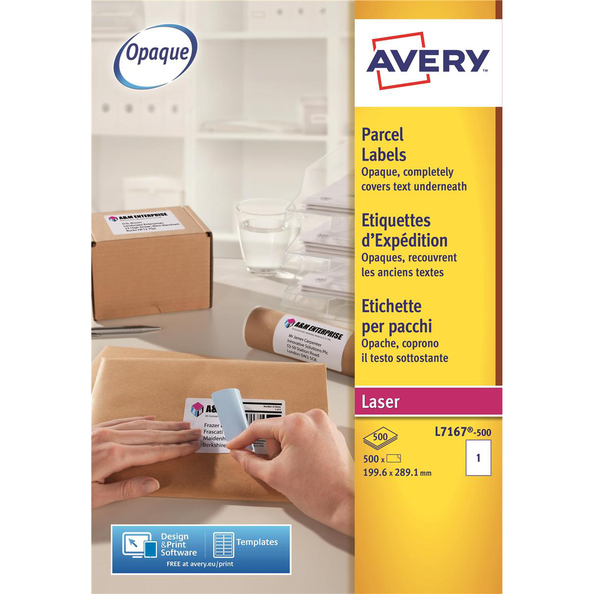 Avery Parcel Labels Laser Jam-free 1 per Sheet 199.6x289.1mm Opaque White Ref L7167-500 [500 Labels]