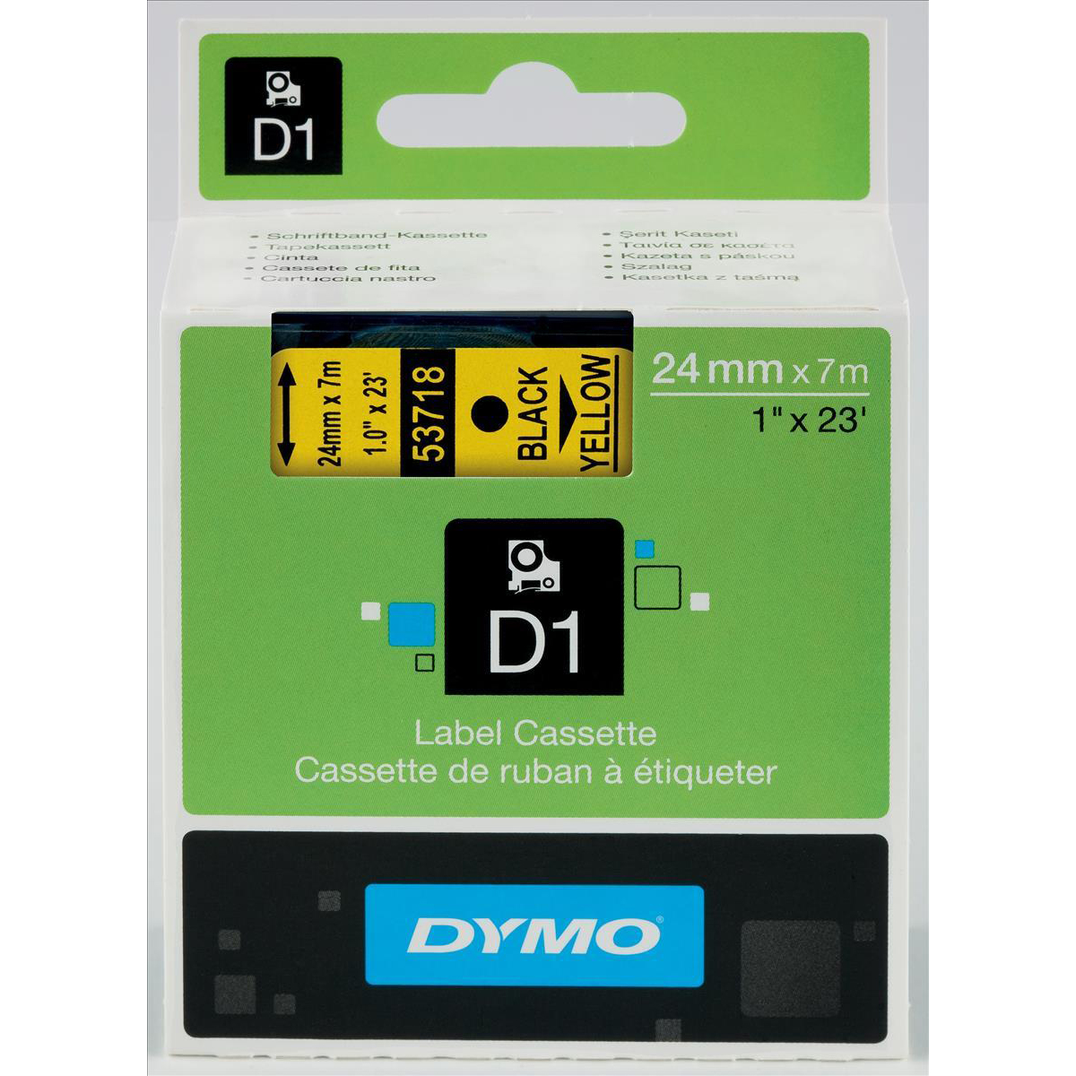 Labelling Tapes & Labels Dymo D1 Tape for Electronic Labelmakers 24mmx7m Black on Yellow Ref 53718 S0720980
