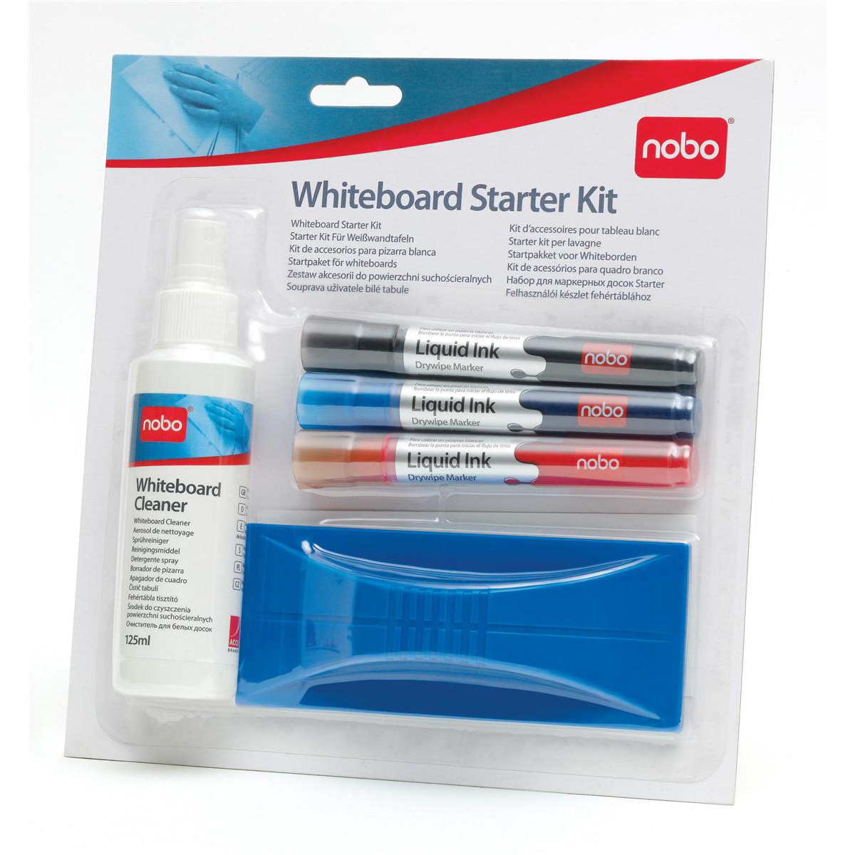 Pen Tray Nobo Whiteboard Starter Kit 3 Asst Drywipe Markers/Eraser/Refills/125ml Cleaning Fluid Spray Ref 34438861