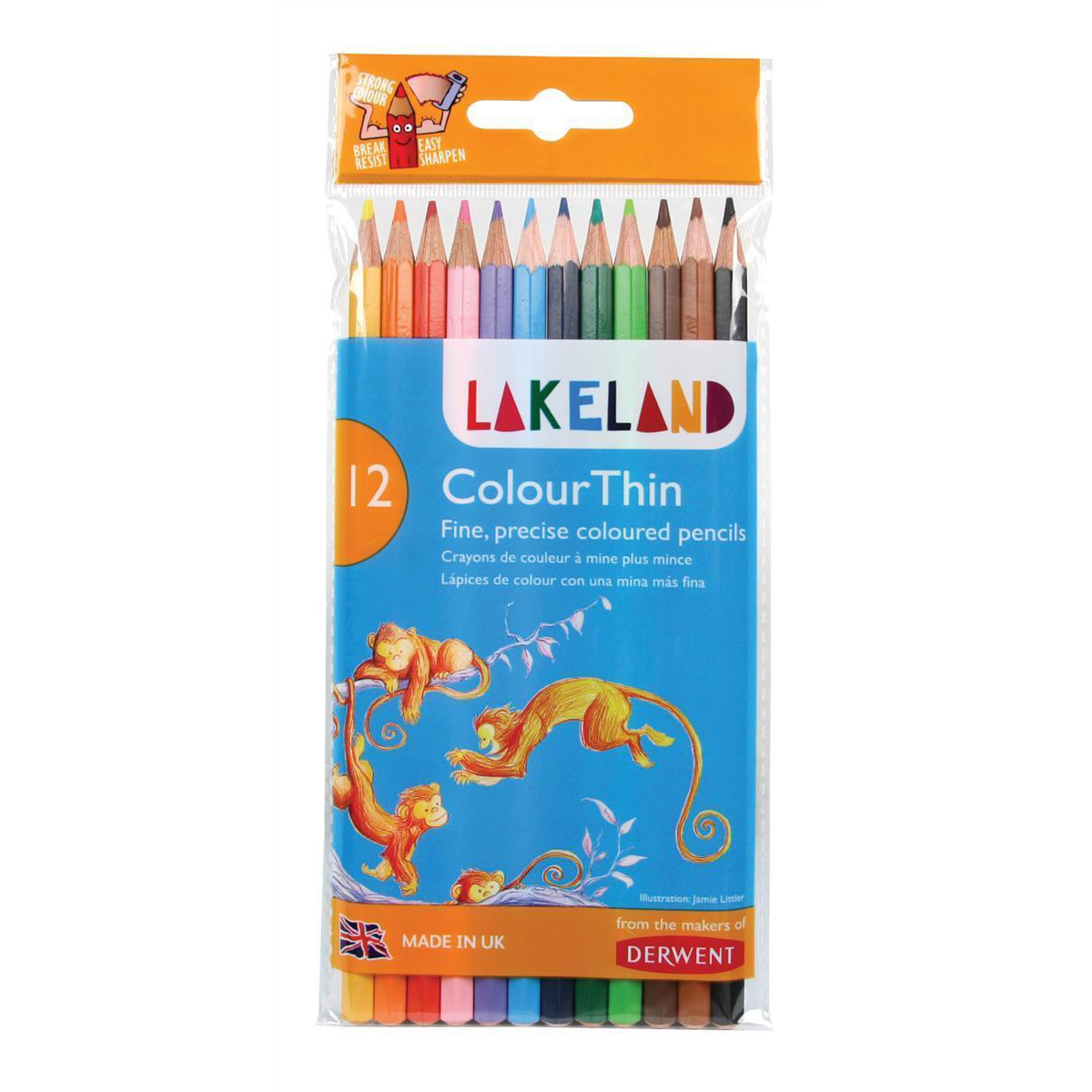 Lakeland Colour Thin Colouring Pencils Hexagonal Barrel Hard-wearing Wallet Asstd Ref 0700077 Pack 12