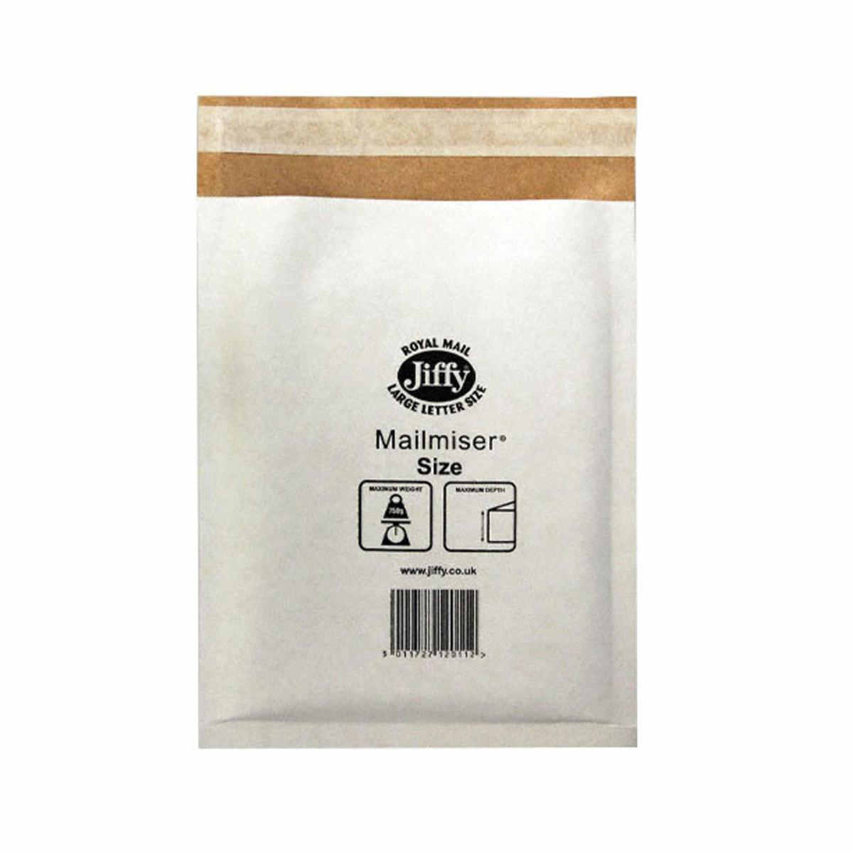 Jiffy Mailmiser Protective Envelopes Bubble-lined Size 2 205x245mm White Ref JMM-WH-2 [Pack 100]